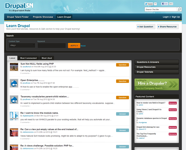 screenshot of inner page