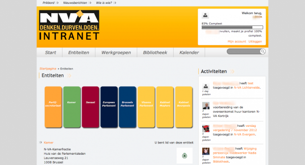 Entiteiten - NV-A intranet