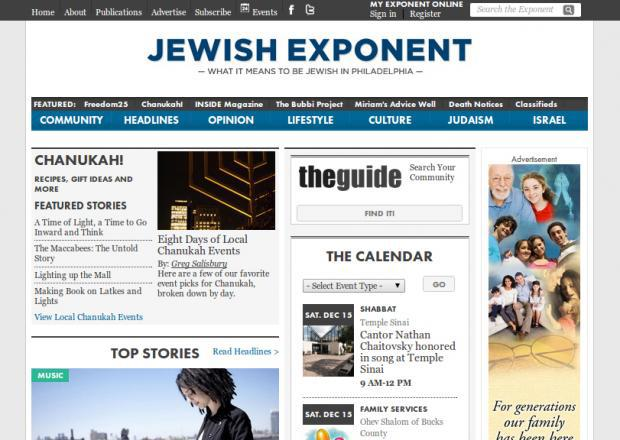 Jewish Exponent homepage
