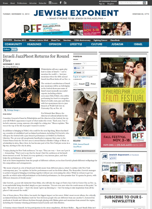 Jewish Exponent article detail page