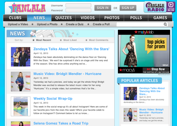 A listing of news articles on Fanlala.