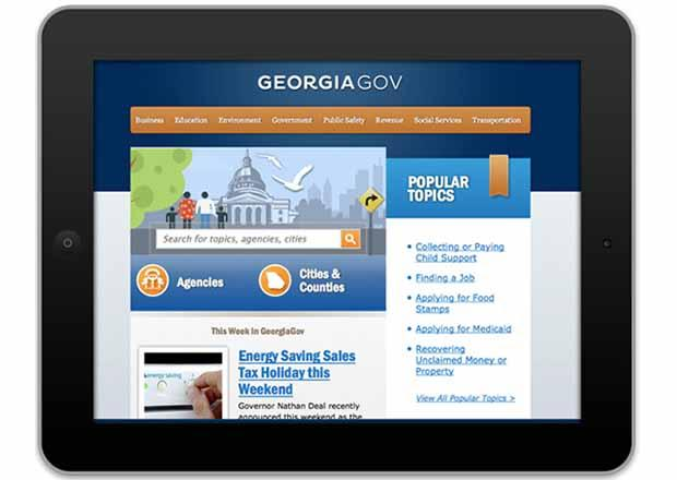 Homepage displayed on an ipad