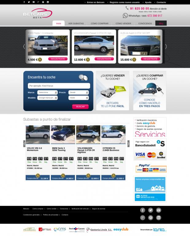 Betcars homepage