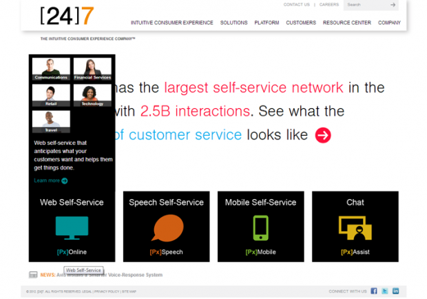 [24]7 offers web self-service, speech self-service, mobile self-service