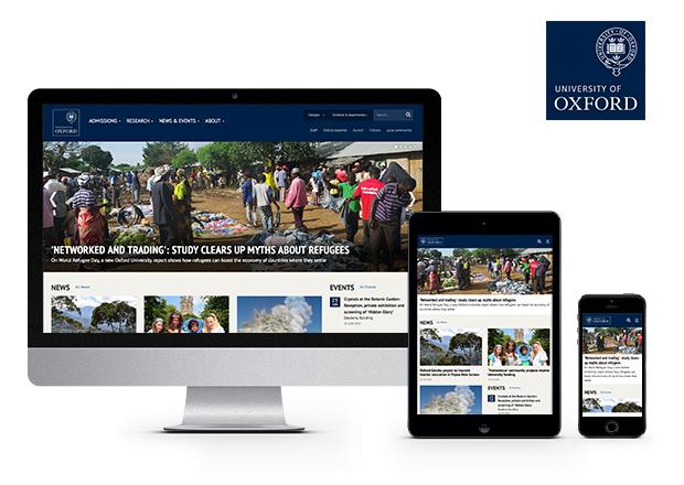 Oxford University homepage screehshots