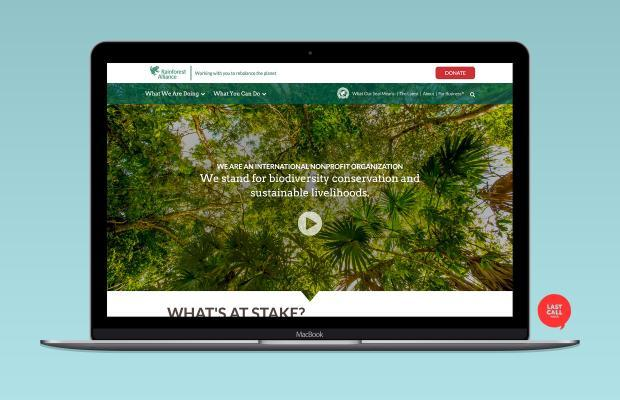 screenshot of rainforest alliance homepage on a laptop