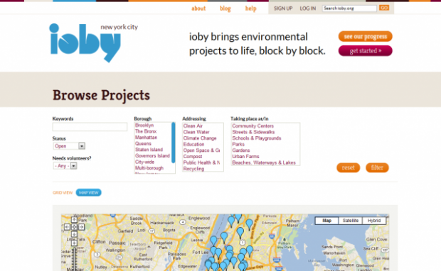 Shows a searchable map of ongoing projects for ioby.org