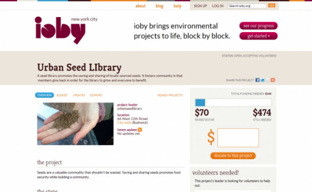 Displays a project for the Urban Seed Library on ioby.org
