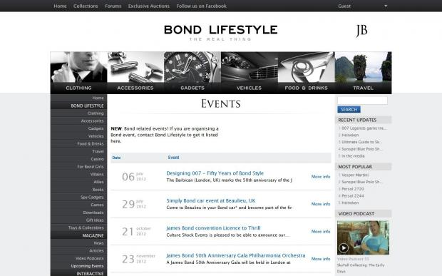 Events overview for Bond Lifestyle