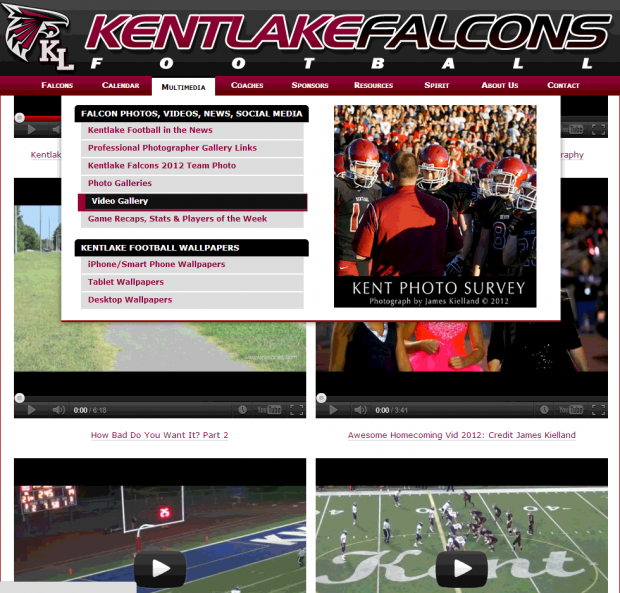 Screenshot of Kentlake football video page