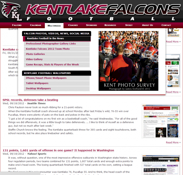 Screenshot of the Kentlake Football In the News page.