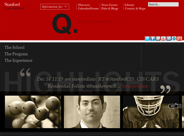 Stanford Law School Homepage Screenshot