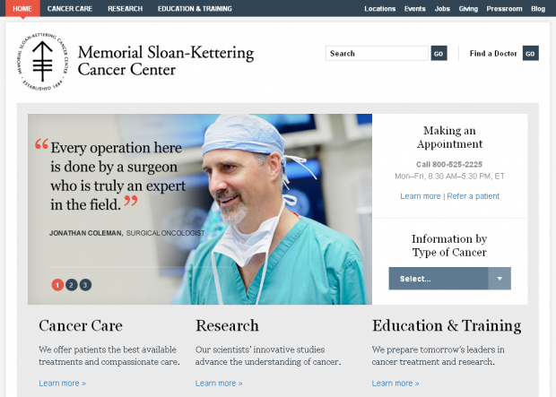 MSKCC Homepage Screenshot