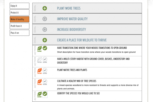 screen shot of goals and actions selection user interface