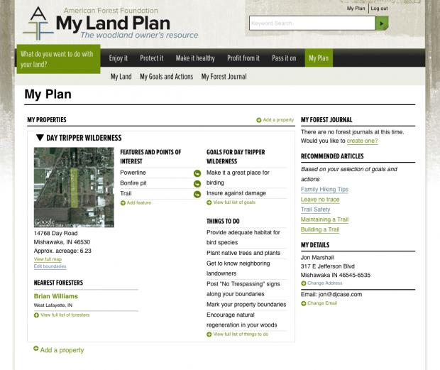 screen shot of MyLandPlan.org woodland owner dashboard