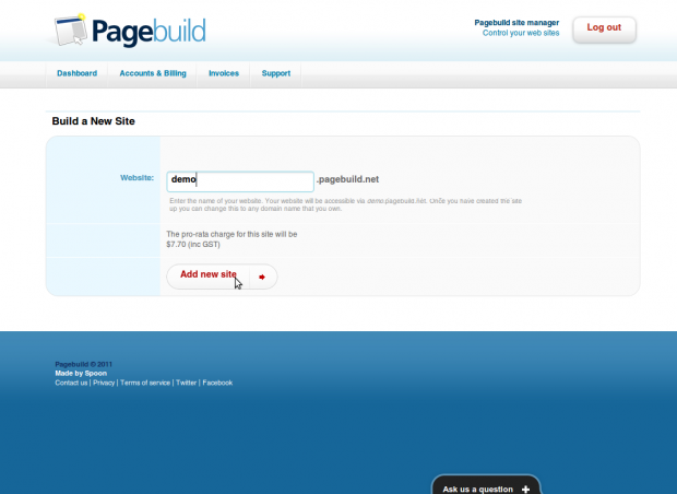 Pagebuild New Site Building
