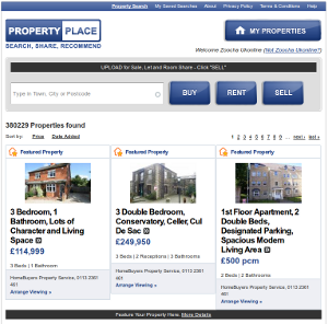 Screen Shot of Property Place, a property search application in Facebook