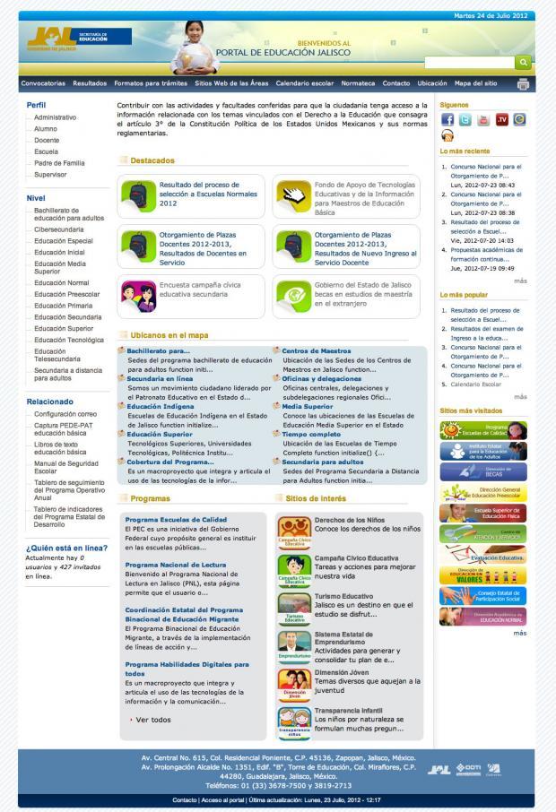 Página principal del Portal de la SEJ