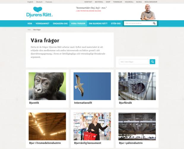 Våra frågor page of Djurensratt.se