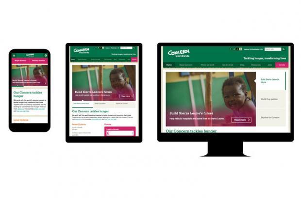 Mobile, Tablet & Desktop designs for concern.net