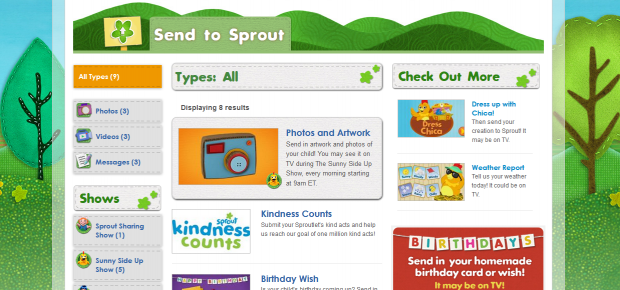 SproutOnline.com Send2Sprout - Users can submit content to be used on air