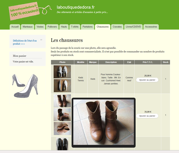 Screenshot of the e-boutique