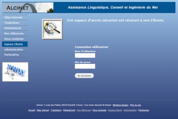 Screenshot of the login page