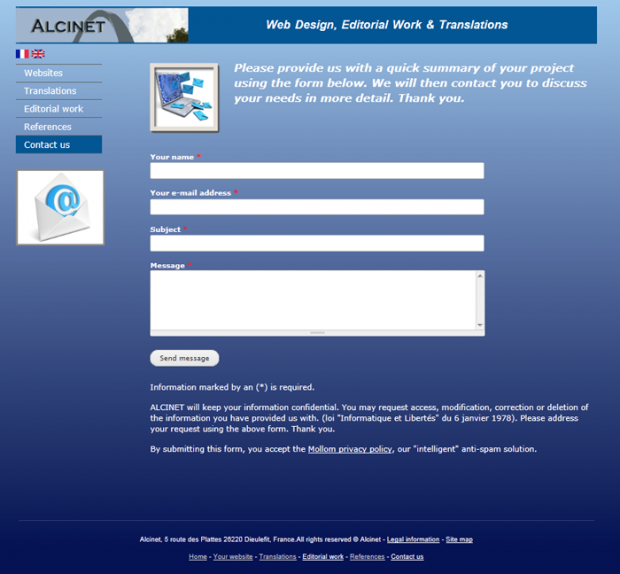 Screenshot of the contact form