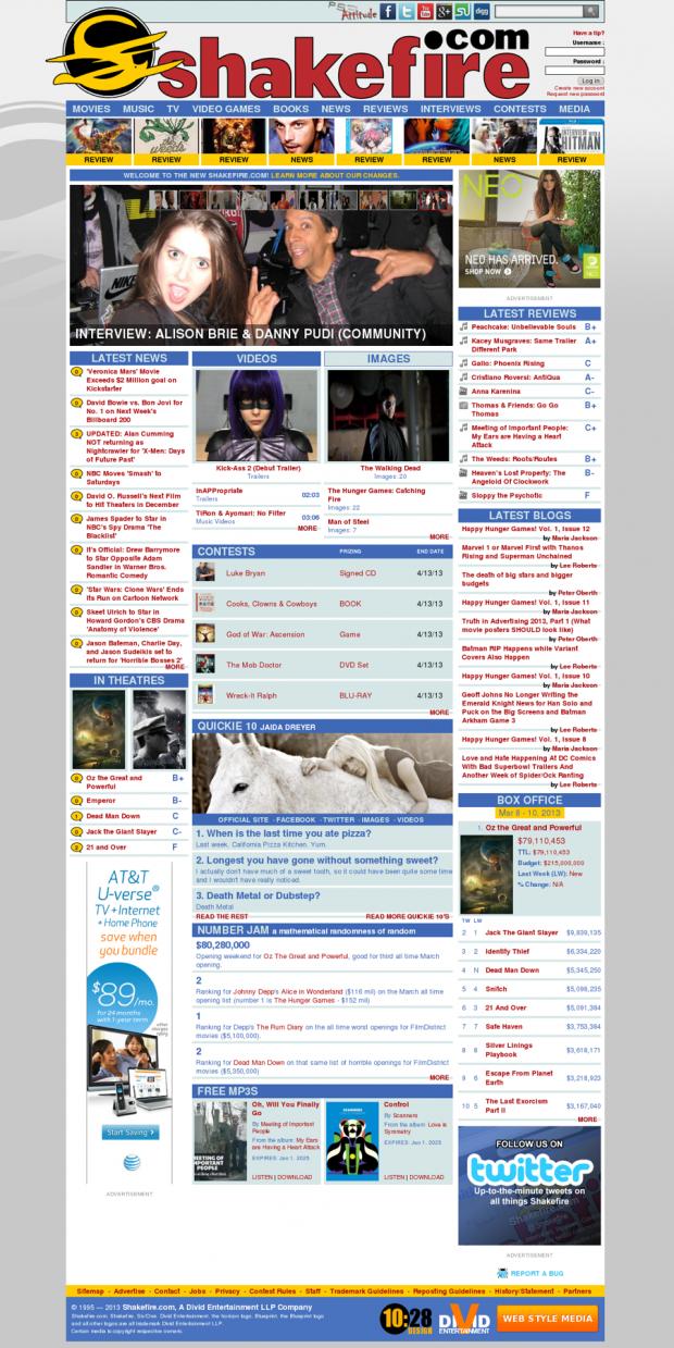 Shakefire.com Home Page