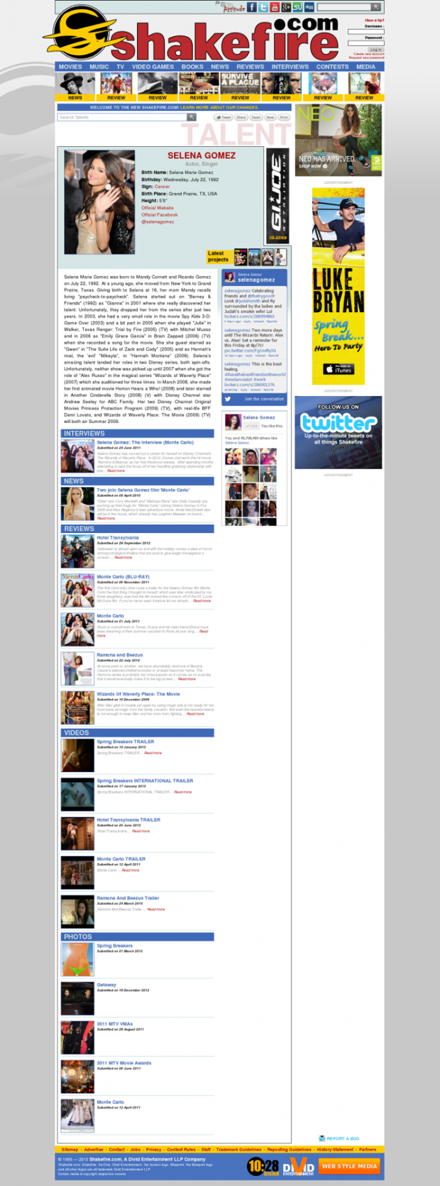 Shakefire.com Talent Page