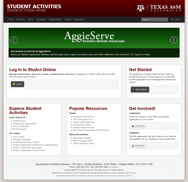 Texas A&M Student Activities Home Page
