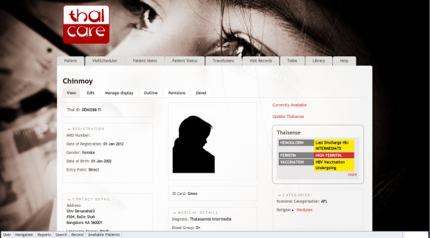 Patient Page in ThalCare