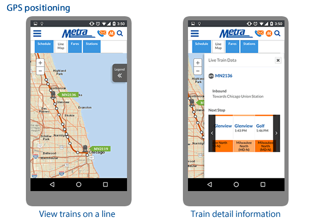 Metra trains in action, showing real-time positions and real-time alerts and updates