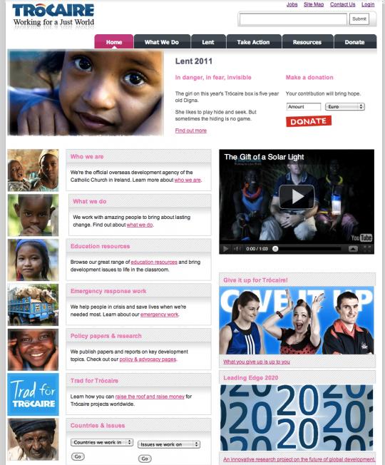 Trocaire.org screenshot