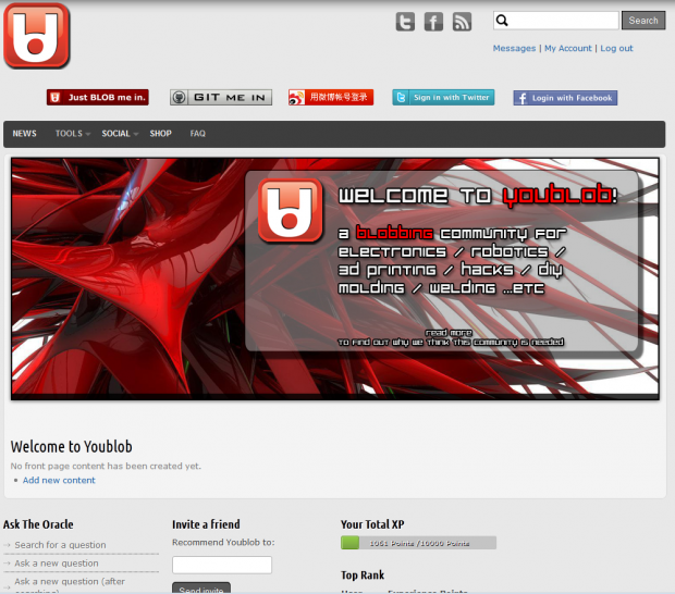 Youblob.com main page