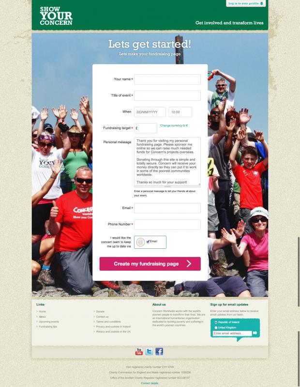 registration form on yourconcern.concern.net