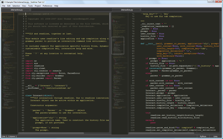 screenshot sublime text