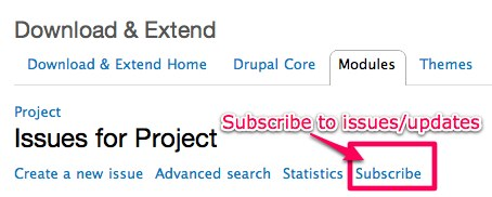 drupal.org 'Issues' page 'Subscribe button for 'following' a module's or theme's issues or updates