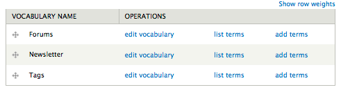 screenshot of taxonomy vocabulary listing