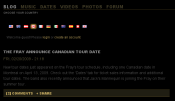 Canadian English content on The Fray's site