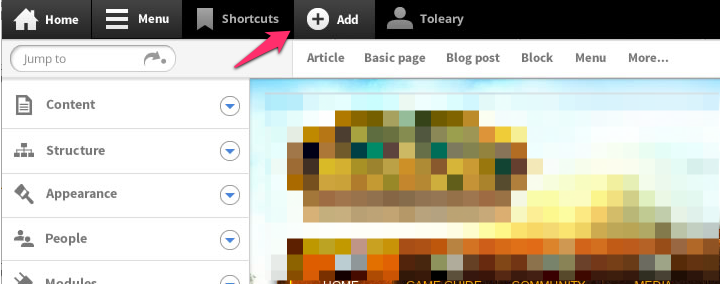northstar design of the Add tab in the responsive toolbar. A tray is associated with the tab that contains links to add specific content types.