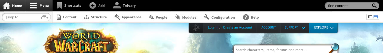 Toolbar in horizontal mode.