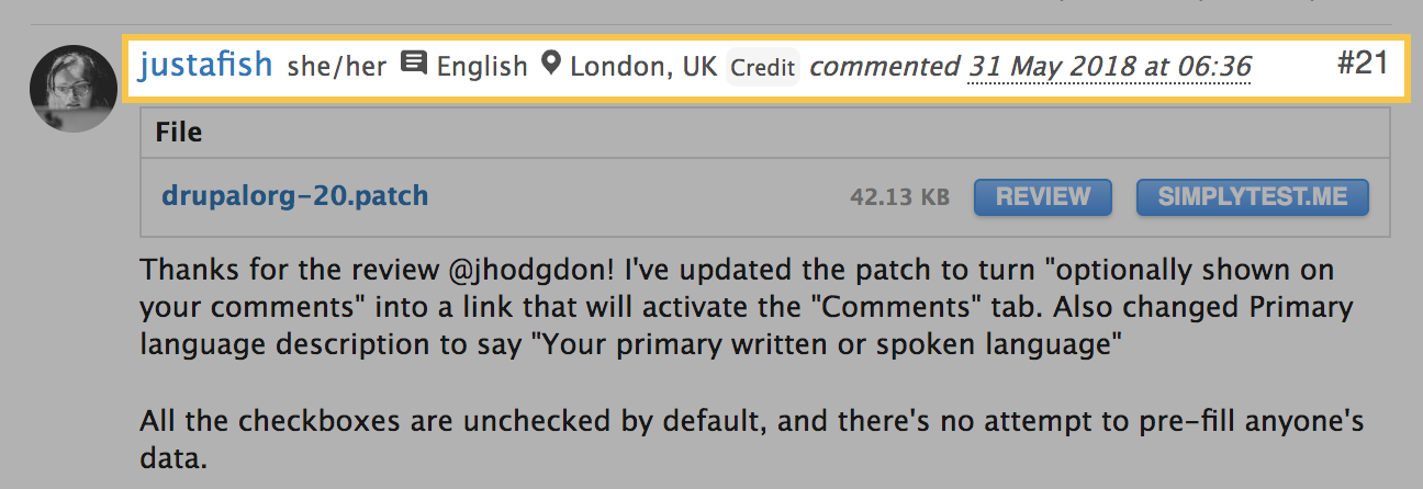 Screenshot of comment submitted by justafish with patch for this feature. Shows the feature in action with pronoun, location, language details.