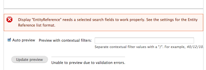 EntityReference needs a selected search field to work properly.