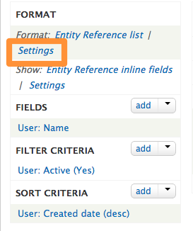 Settings link outlined on the views admin page.