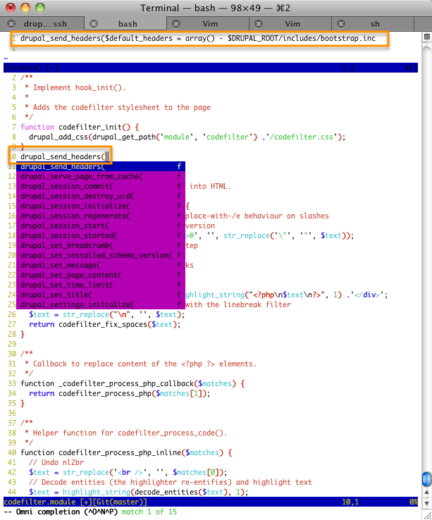 screenshot showing PHP omnicompletion