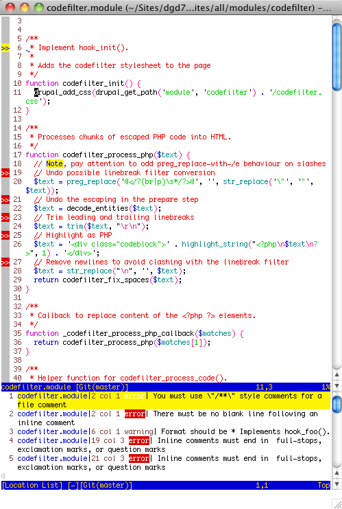 screenshot showing syntax checking