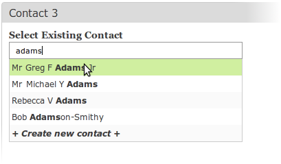 Existing Contact FIeld