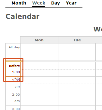 week calendar with time