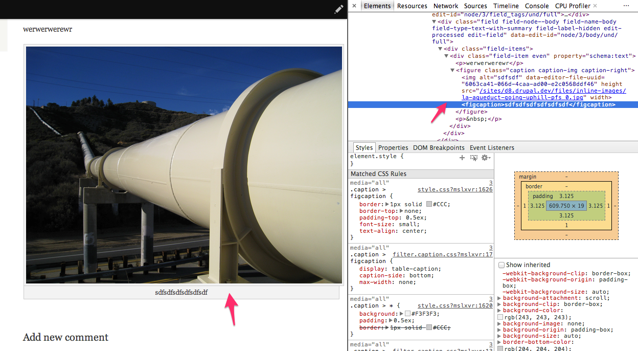 Screenshot of a node page after editing the existing node and re-adding the caption. The image caption is now present.